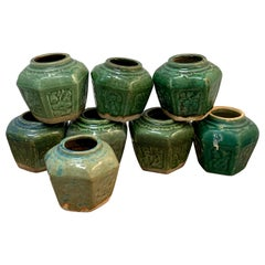Collection of Eight Chinese Export Hexagonal Vases in Shades of Green
