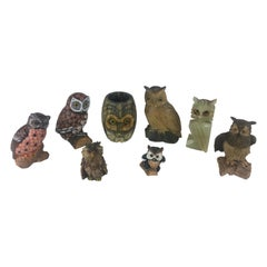 Collection of Eight Owl Sculptures