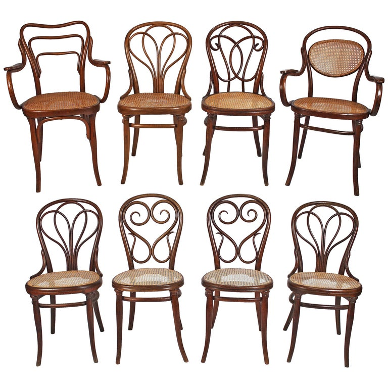 Collection Of Eight Viennese Secessionist Dining Chairs Thonet