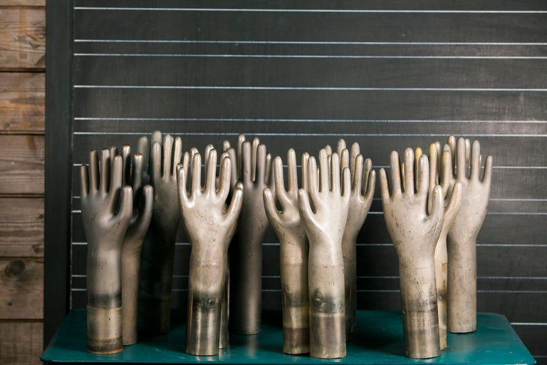 Art Deco Collection of Eleven Aluminum Glove Molds For Sale