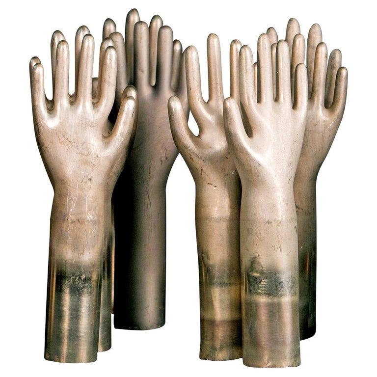 Collection of Eleven Aluminum Glove Molds For Sale