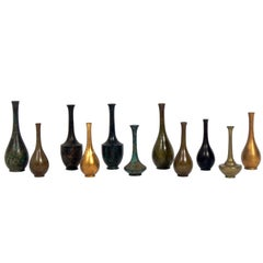 Collection of Eleven Japanese Bronze Vases