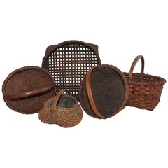 Collection of Five 19th Century American Baskets