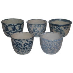 Collection of Five 19th Century Sponge Ware Custard Cups