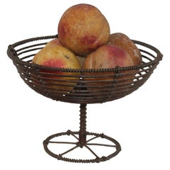 Collection of Five Alabaster Peaches W / a 19th Century Wire Compote