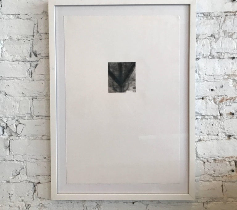 Collection of Two Drawings by Dave Zarick  Small charcoal and paint drawings by the late Dave Zarick. Museum mounting and white wood frames  Each piece is different  Sold separately   Frame sizes are all 26.5 in H x 19.25 in W x 1 in D.  Drawings