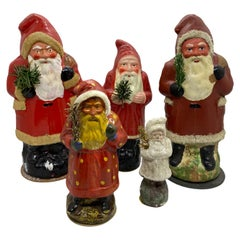 Collection of Five Santa Claus Belsnickle Candy Container German Christmas
