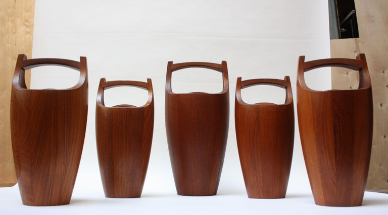 Mid-Century Modern Collection of Five Staved Teak 'Congo' Ice Buckets by Jens Quistgaaard for Dansk For Sale