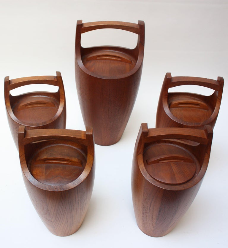 Danish Collection of Five Staved Teak 'Congo' Ice Buckets by Jens Quistgaaard for Dansk For Sale