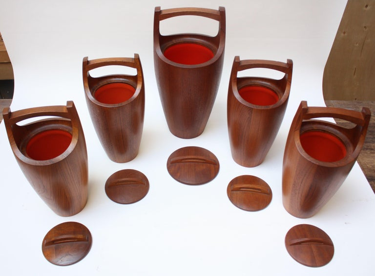 Collection of Five Staved Teak 'Congo' Ice Buckets by Jens Quistgaaard for Dansk In Good Condition For Sale In Brooklyn, NY