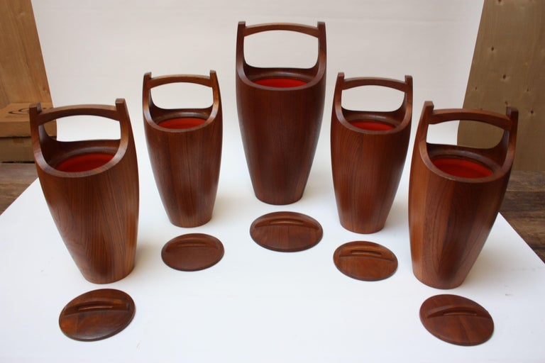 Mid-20th Century Collection of Five Staved Teak 'Congo' Ice Buckets by Jens Quistgaaard for Dansk For Sale