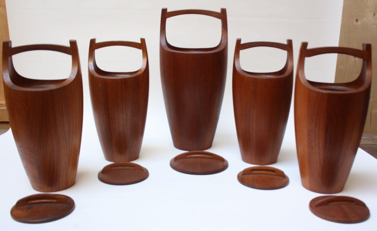 Plastic Collection of Five Staved Teak 'Congo' Ice Buckets by Jens Quistgaaard for Dansk For Sale