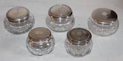 Collection of Five Sterling Silver Cut Glass Powder Jars