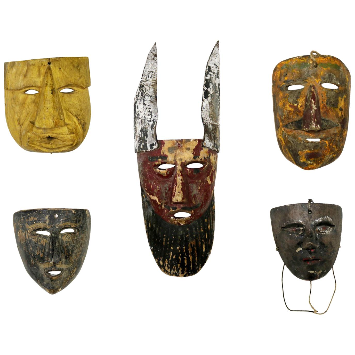 Collection of Five Vintage Mexican Folk Art Hand Carved Wood Masks