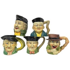 Collection of Five Vintage Toby Mug Pitchers Creamers, England, 1950s