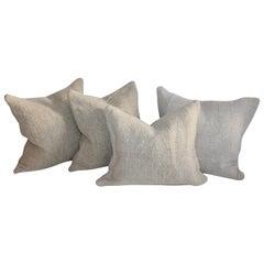Collection of Four 19th Century Homespun Linen Pillows