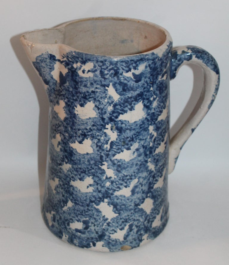 Country Collection of Four 19th Century Design Sponge Ware Pitchers For Sale