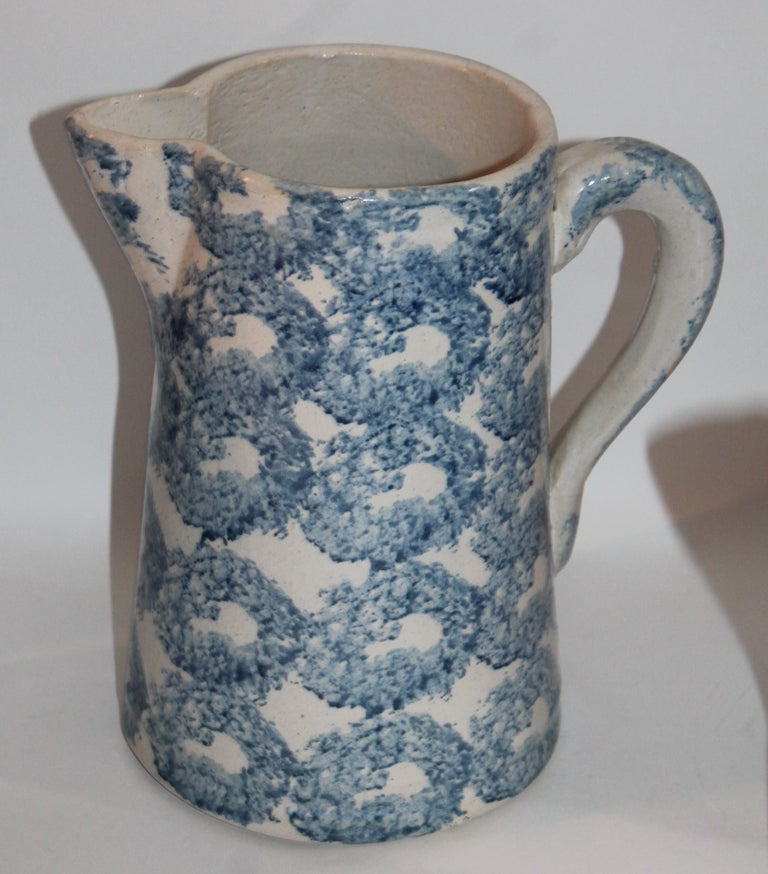 American Collection of Four 19th Century Design Sponge Ware Pitchers For Sale