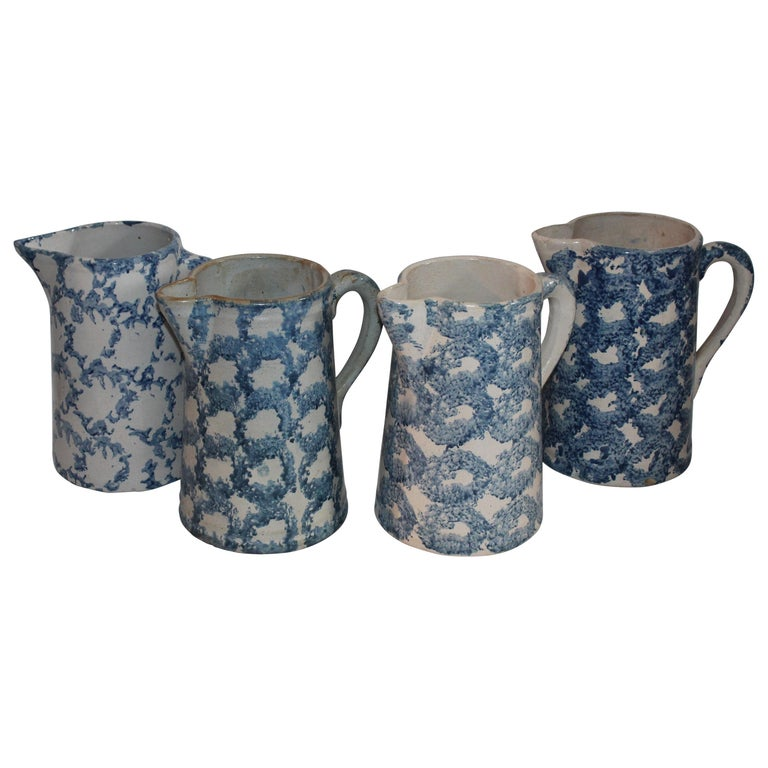 Collection of Four 19th Century Design Sponge Ware Pitchers For Sale