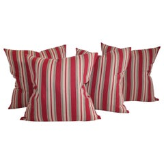 Collection of Four 19th Century Red and Tan Stripe Ticking Pillows