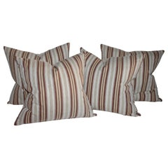 Collection of Four 19thc Ticking Stripe Pillows, Two Pairs