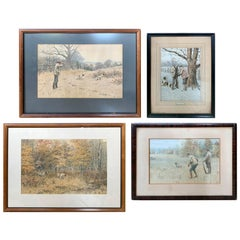 Collection of Four American Sporting Chromolithographs by Arthur Burdett Frost