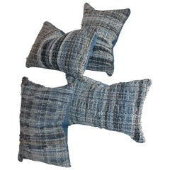 Collection of Four Blue Rag Rug Pillows