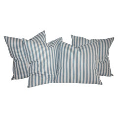 Collection of Four Blue Striped Ticking Pillows