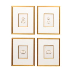 Collection of Four Framed Wall Art of Greek Intaglios, White in Gold Frames