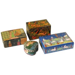 Collection of Four Kashmiri Painted Papier Mâché Boxes, Early 20th Century