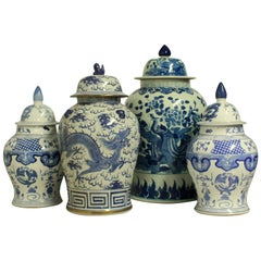 Collection of Four Large Chinese Vase with Covers