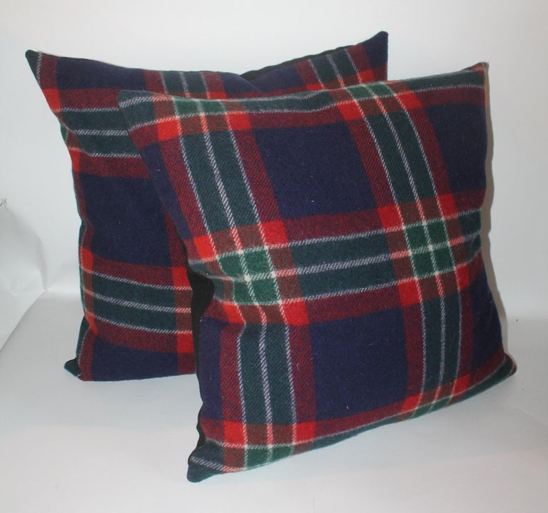 Country Collection of Four Plaid Blanket Pillows / 4 For Sale