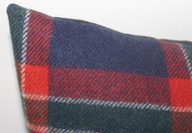 Hand-Crafted Collection of Four Plaid Blanket Pillows / 4 For Sale