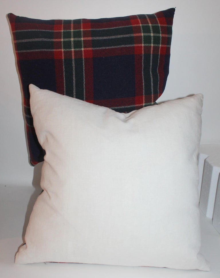Wool Collection of Four Plaid Blanket Pillows / 4 For Sale