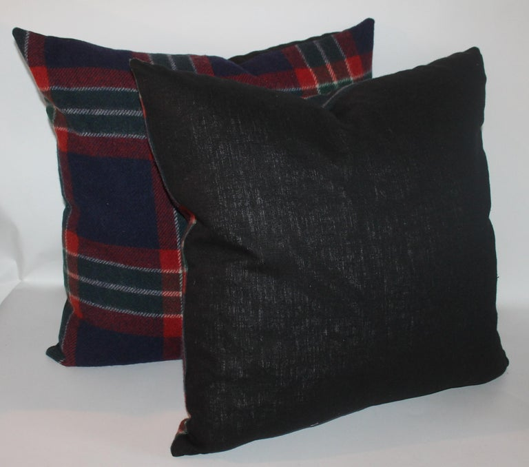 Collection of Four Plaid Blanket Pillows / 4 For Sale 1