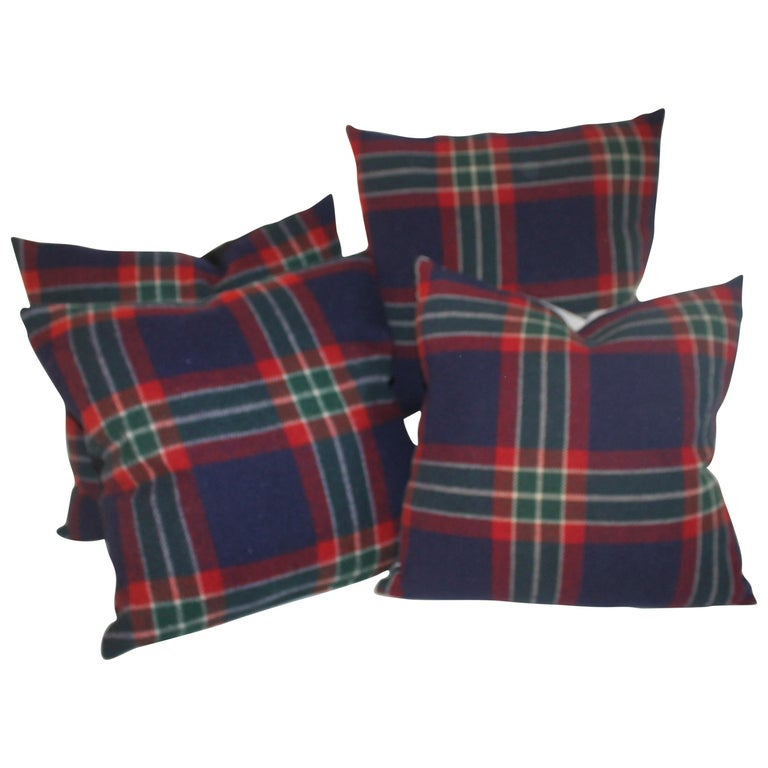 Collection of Four Plaid Blanket Pillows / 4 For Sale