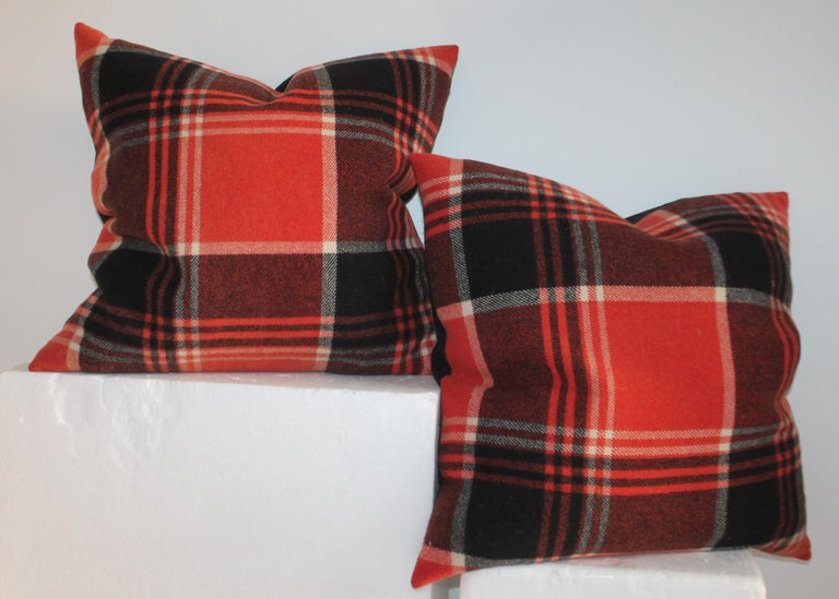 Adirondack Collection of Four Plaid Blanket Pillows For Sale