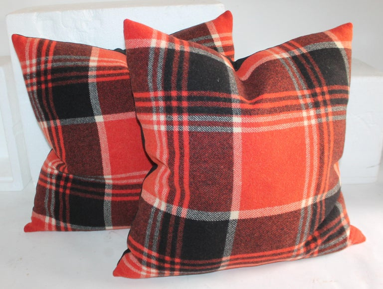 American Collection of Four Plaid Blanket Pillows For Sale