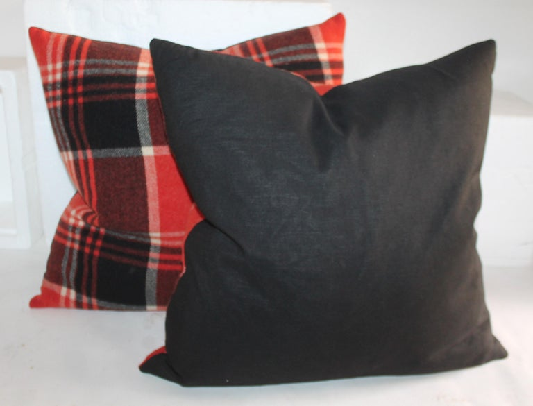 Collection of Four Plaid Blanket Pillows In Good Condition For Sale In Los Angeles, CA