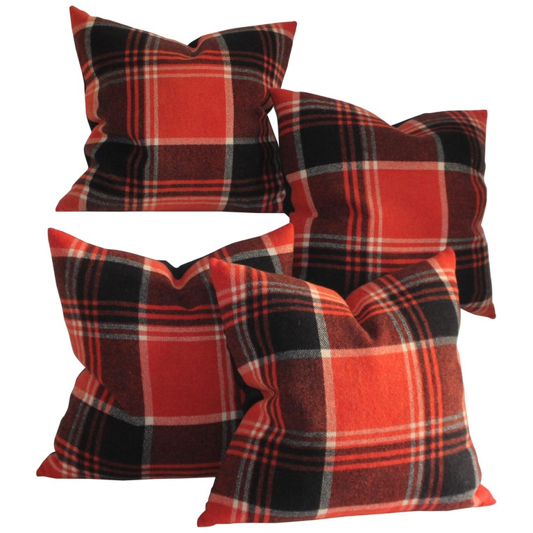 Collection of Four Plaid Blanket Pillows For Sale