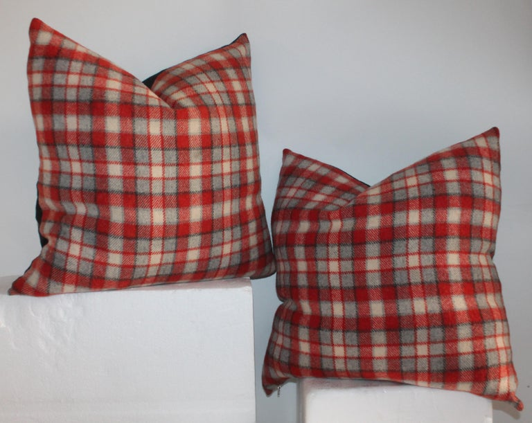 Adirondack Collection of Four Plaid Camp Blanket Pillows For Sale