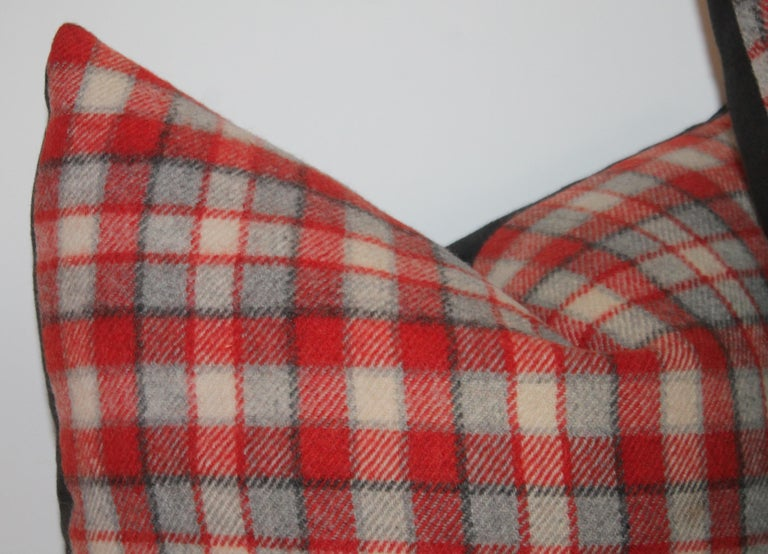 American Collection of Four Plaid Camp Blanket Pillows For Sale
