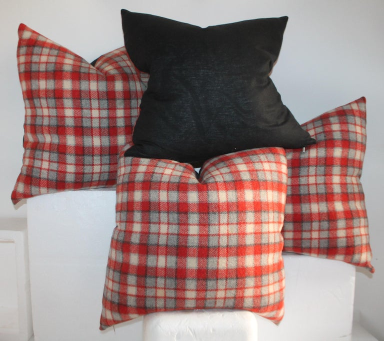 20th Century Collection of Four Plaid Camp Blanket Pillows For Sale
