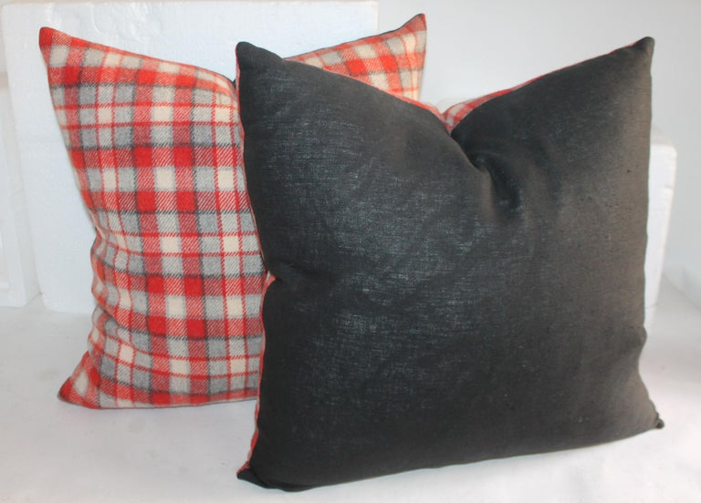 Wool Collection of Four Plaid Camp Blanket Pillows For Sale