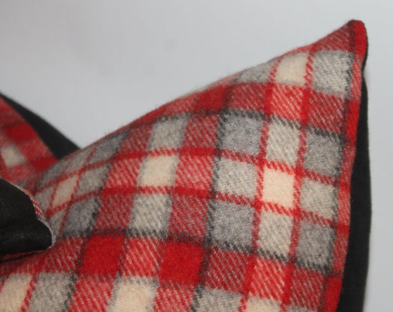 Collection of Four Plaid Camp Blanket Pillows For Sale 1