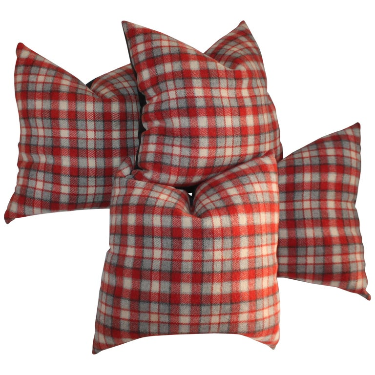 Collection of Four Plaid Camp Blanket Pillows For Sale