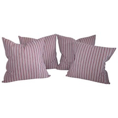 Collection of Four Red and White Vintage Ticking Pillows