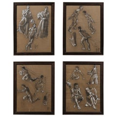 Collection of Four Swedish, Mid-20th Century Charcoal Studies