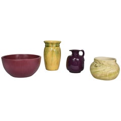 Collection of Four Vintage Pottery Pieces Aubergine Yellow Plum Green Swirl