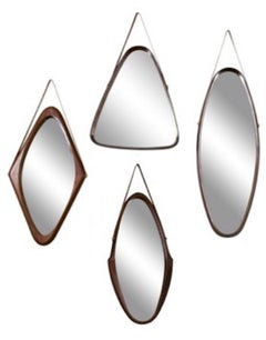 Collection of Four Walnut Mirrors, Italy, 1960